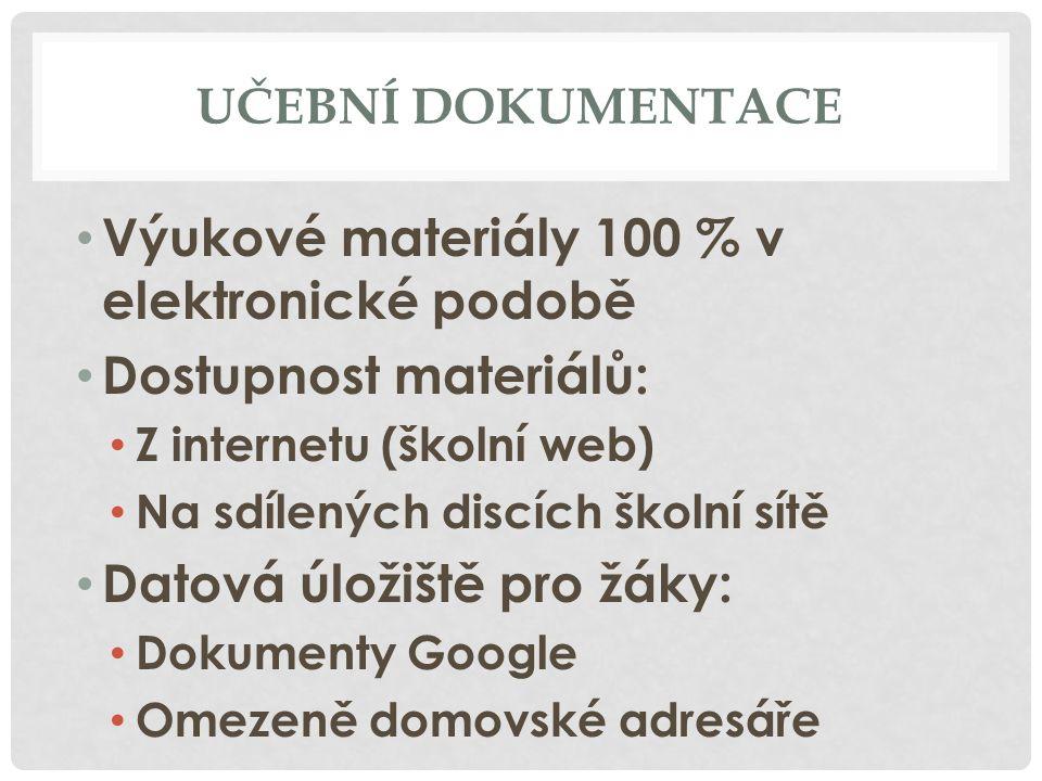 Výukové materiály 100 % v elektronické podobě Dostupnost materiálů: