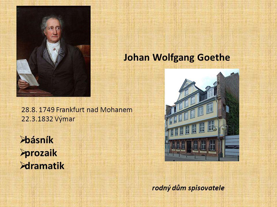 Johan Wolfgang Goethe básník prozaik dramatik
