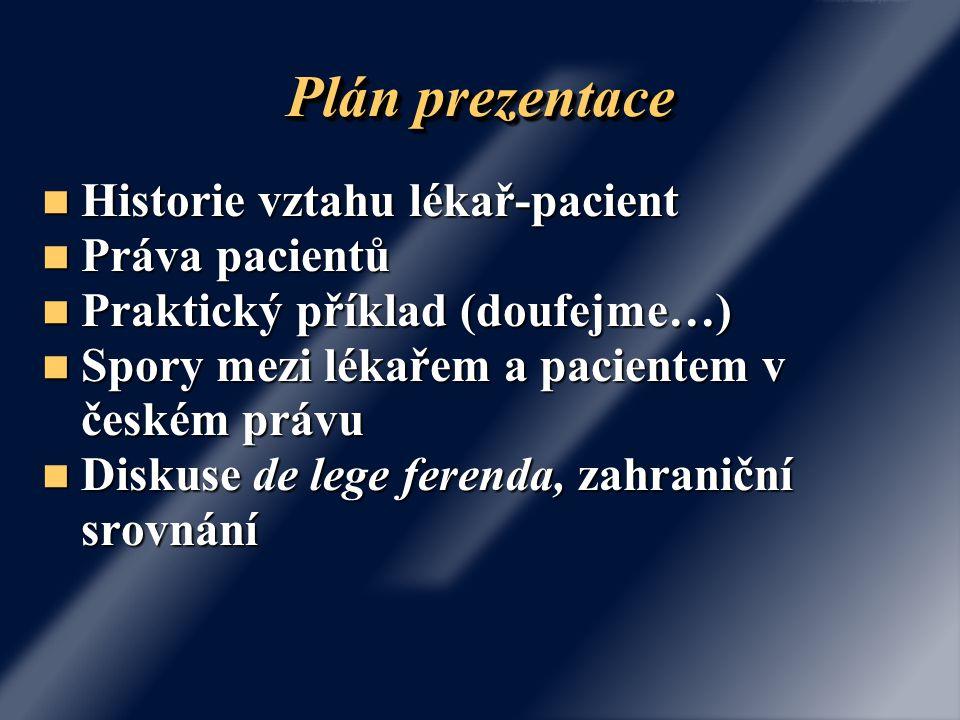 Plán prezentace Historie vztahu lékař-pacient Práva pacientů