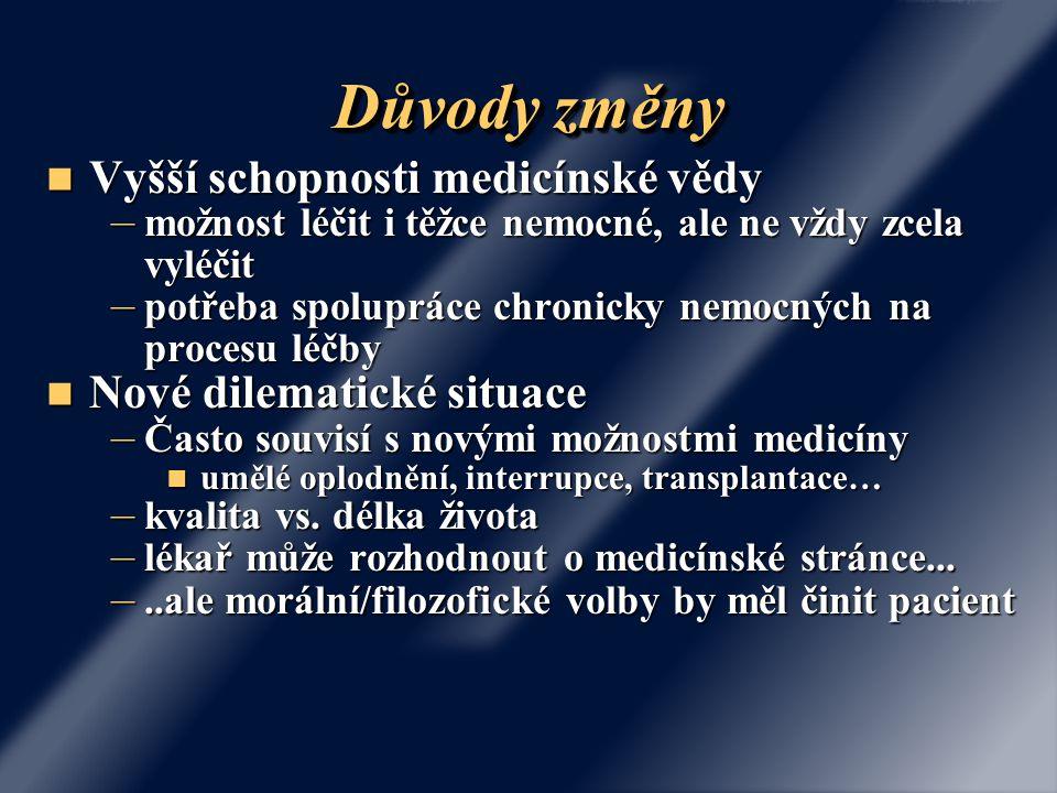 Důvody změny Vyšší schopnosti medicínské vědy Nové dilematické situace