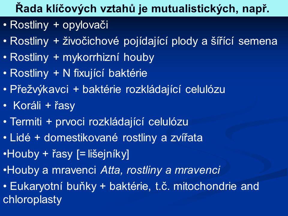 Řada klíčových vztahů je mutualistických, např.