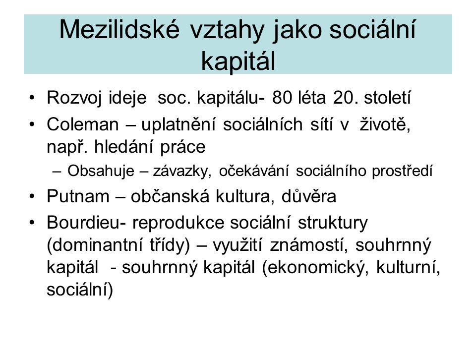 Mezilidské vztahy jako sociální kapitál