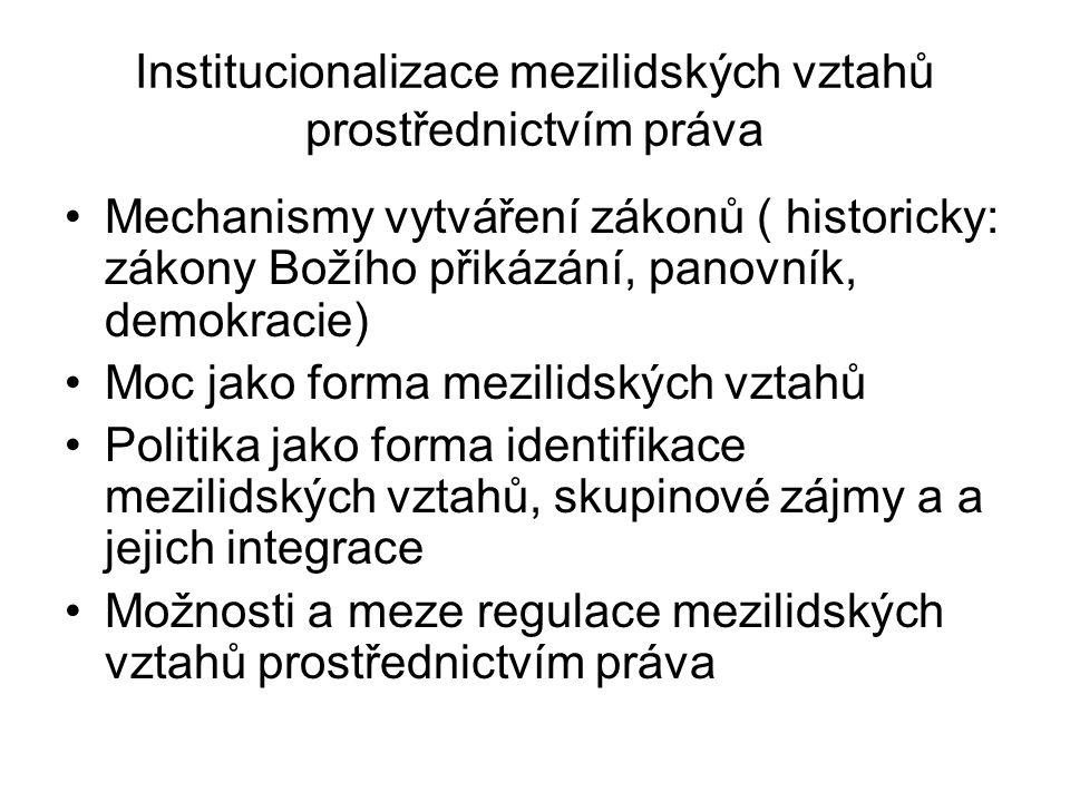 Institucionalizace mezilidských vztahů prostřednictvím práva