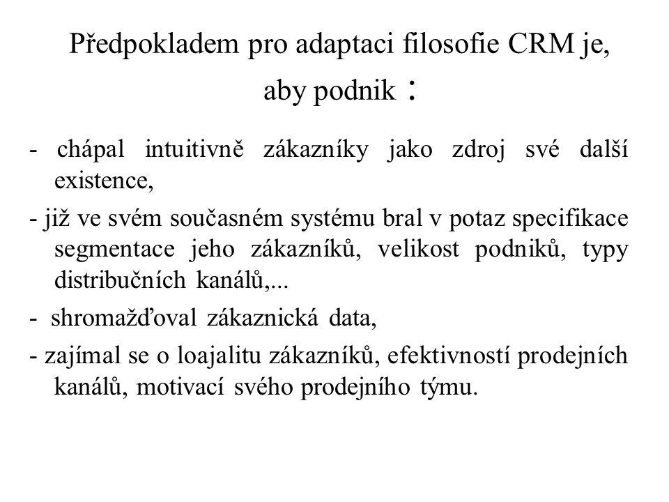 Předpokladem pro adaptaci filosofie CRM je, aby podnik :