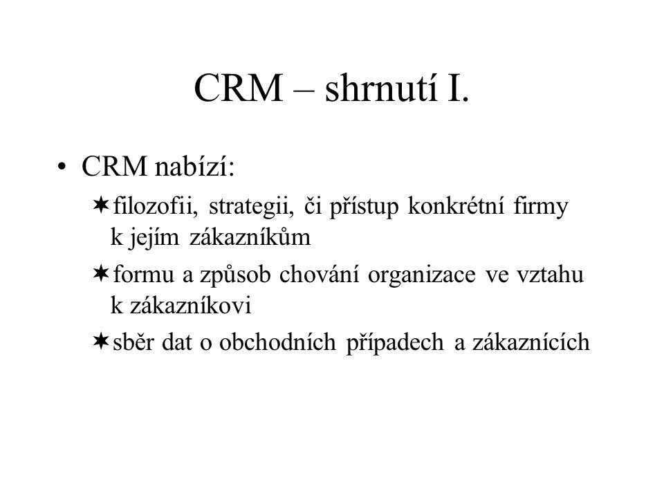 CRM – shrnutí I. CRM nabízí: