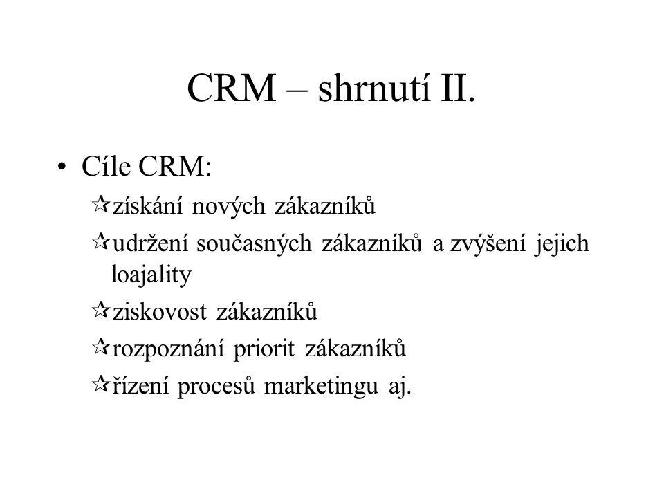 CRM – shrnutí II. Cíle CRM: získání nových zákazníků