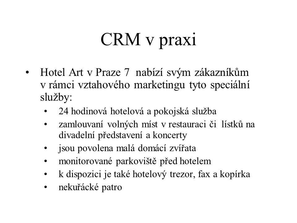 CRM v praxi Hotel Art v Praze 7 nabízí svým zákazníkům v rámci vztahového marketingu tyto speciální služby: