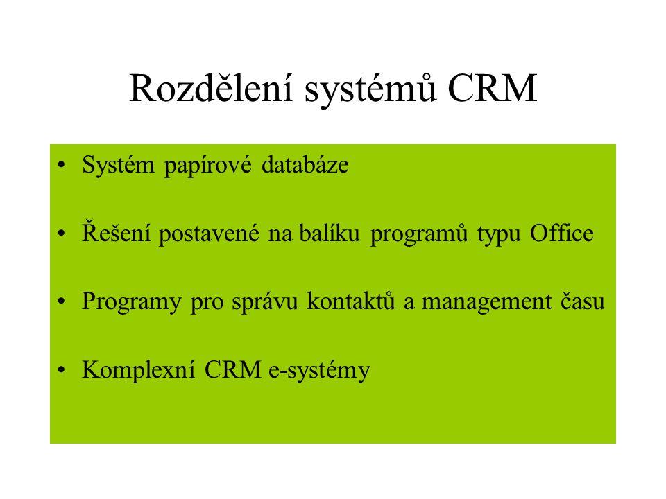 Rozdělení systémů CRM Systém papírové databáze