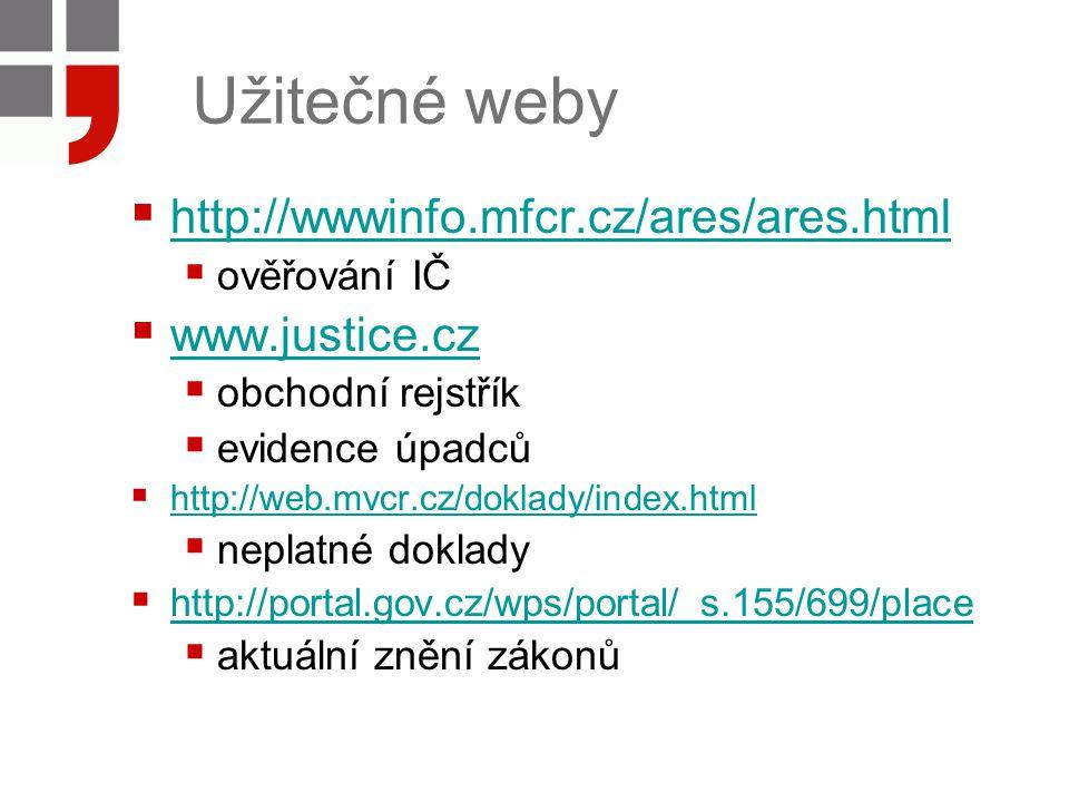 Užitečné weby http://wwwinfo.mfcr.cz/ares/ares.html www.justice.cz