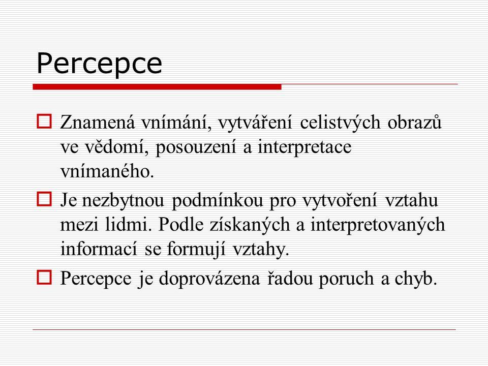 Percepce Znamená vnímání, vytváření celistvých obrazů ve vědomí, posouzení a interpretace vnímaného.
