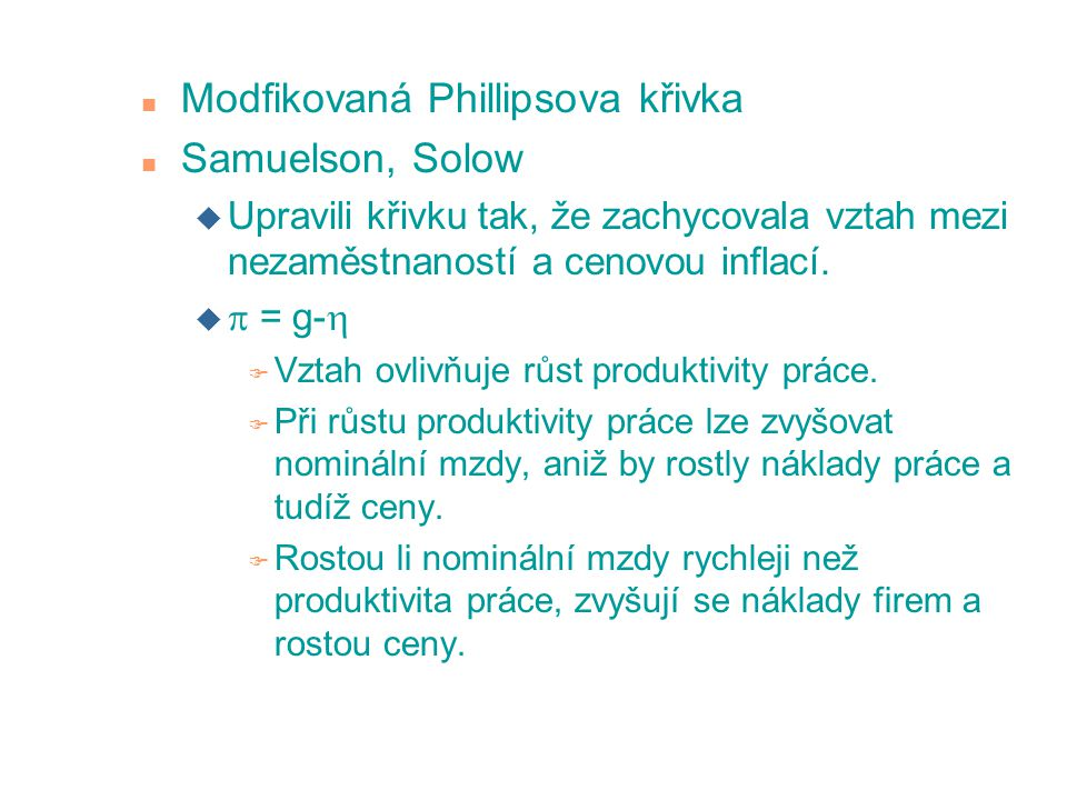 Modfikovaná Phillipsova křivka Samuelson, Solow