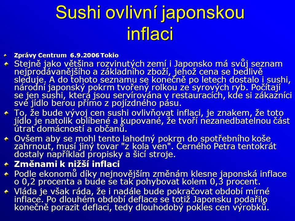 Sushi ovlivní japonskou inflaci