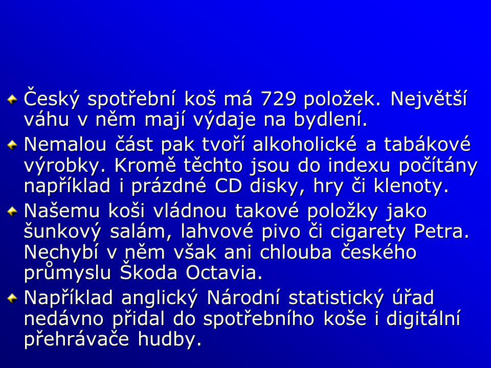 Český spotřební koš má 729 položek