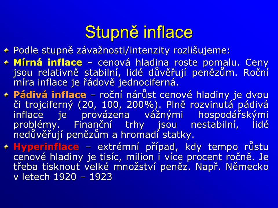 Stupně inflace Podle stupně závažnosti/intenzity rozlišujeme: