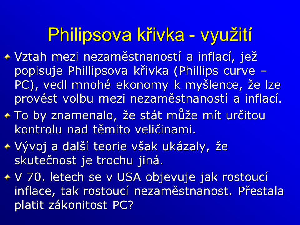 Philipsova křivka - využití