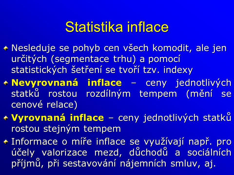 Statistika inflace Nesleduje se pohyb cen všech komodit, ale jen určitých (segmentace trhu) a pomocí statistických šetření se tvoří tzv. indexy.