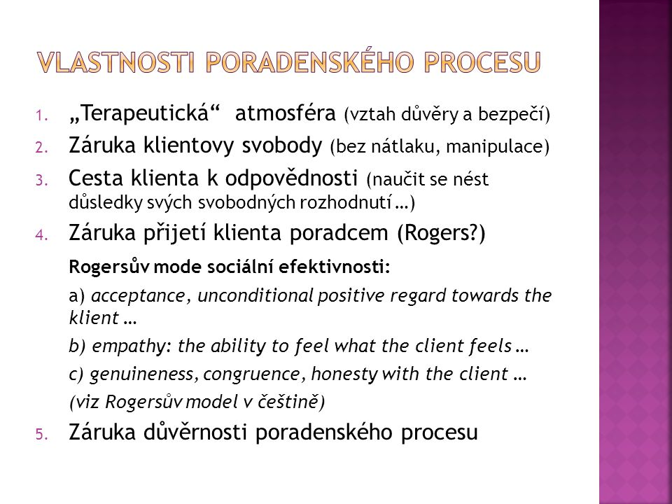 Vlastnosti poradenského Procesu