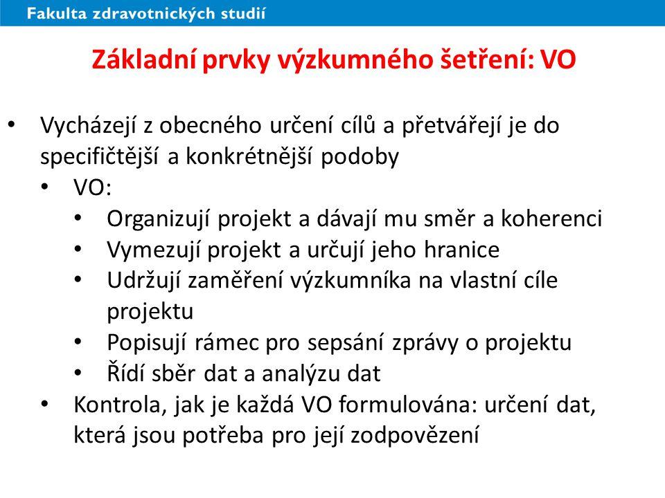 Základní prvky výzkumného šetření: VO
