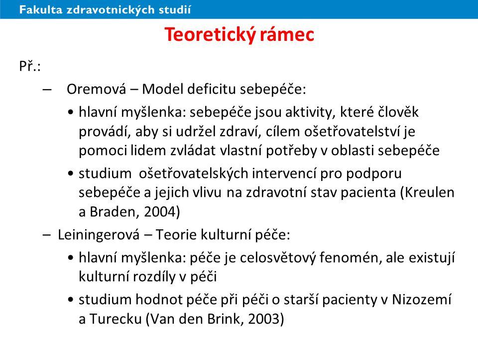 Teoretický rámec Př.: Oremová – Model deficitu sebepéče: