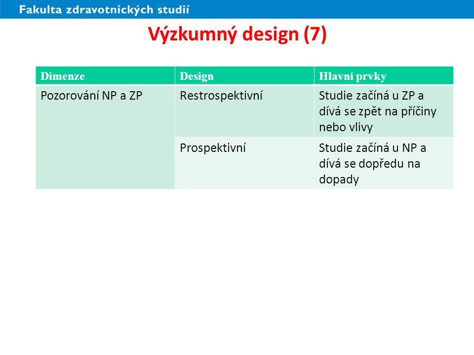 Výzkumný design (7) Pozorování NP a ZP Restrospektivní