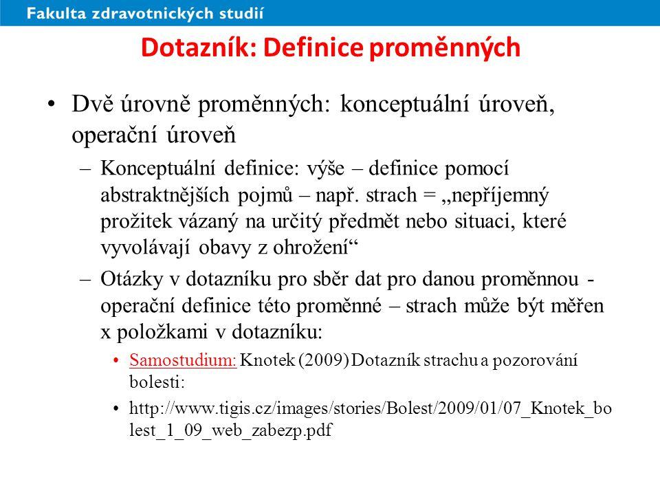 Dotazník: Definice proměnných