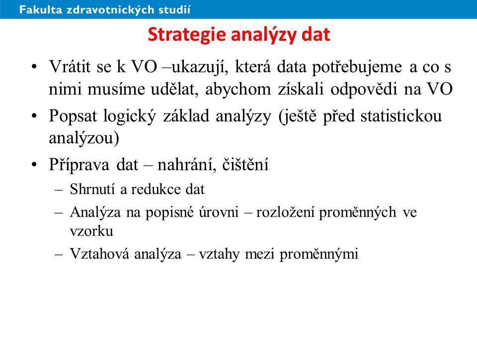 Strategie analýzy dat Vrátit se k VO –ukazují, která data potřebujeme a co s nimi musíme udělat, abychom získali odpovědi na VO.