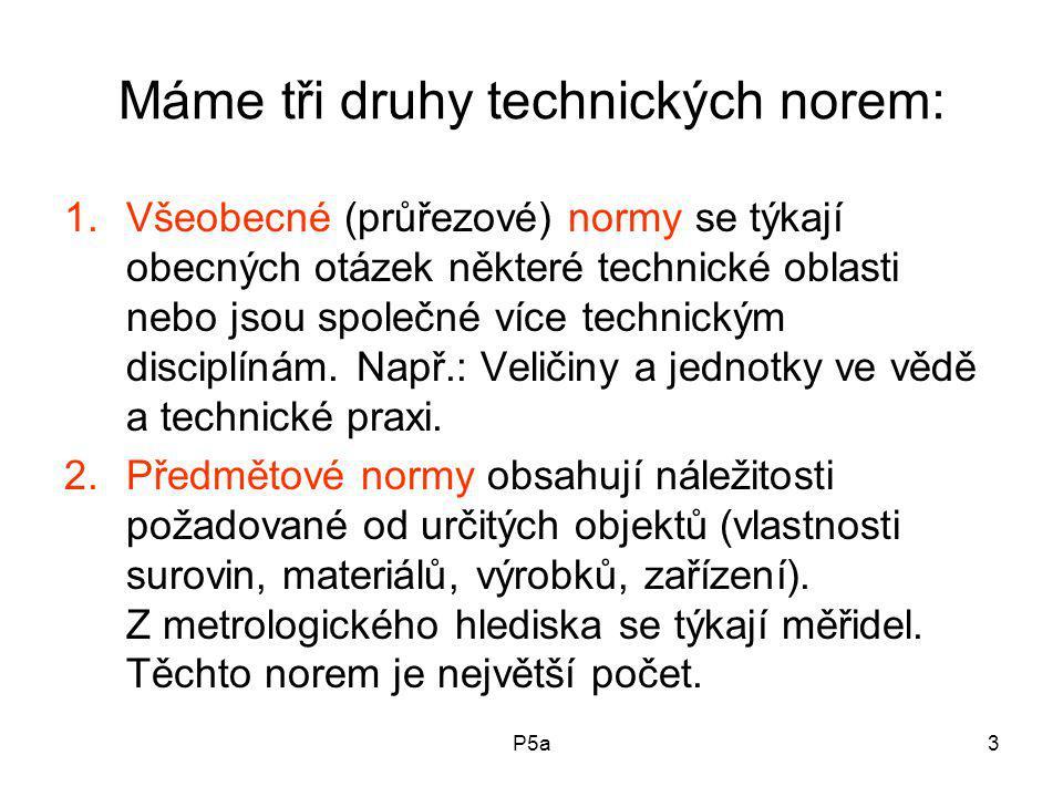Máme tři druhy technických norem: