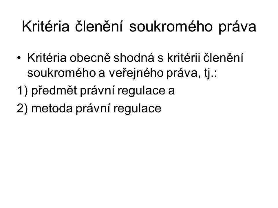 Kritéria členění soukromého práva