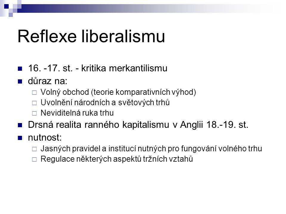 Reflexe liberalismu 16. -17. st. - kritika merkantilismu důraz na: