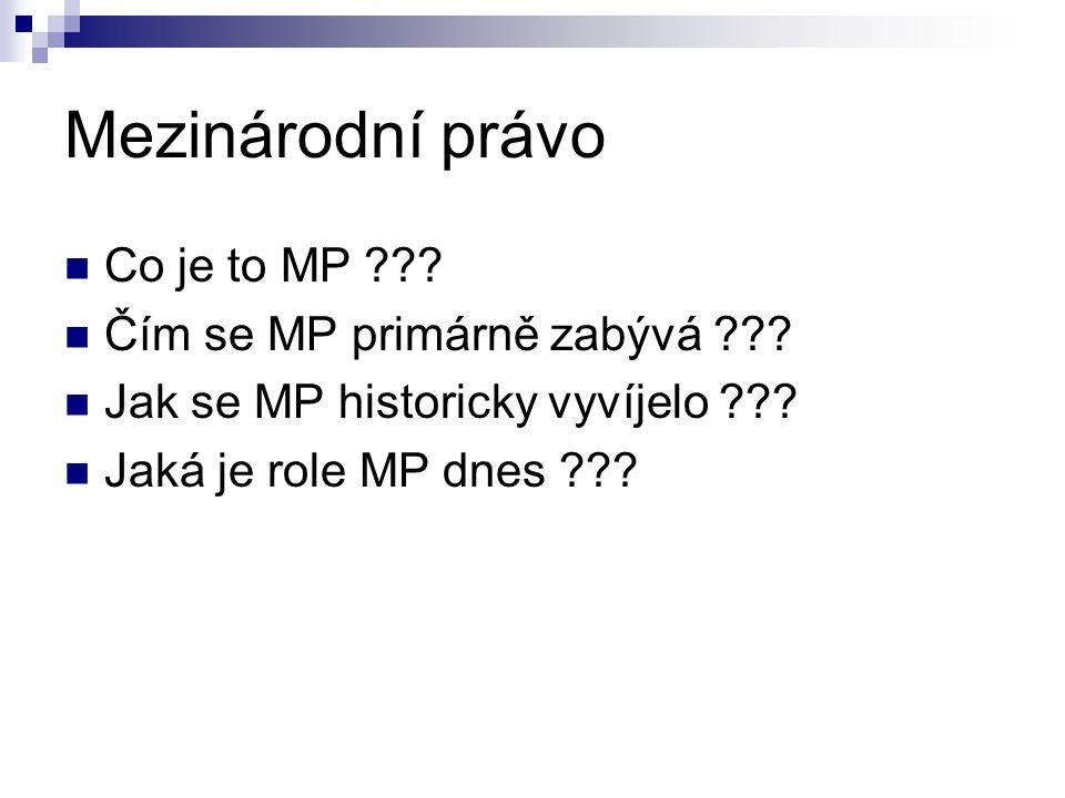 Mezinárodní právo Co je to MP Čím se MP primárně zabývá