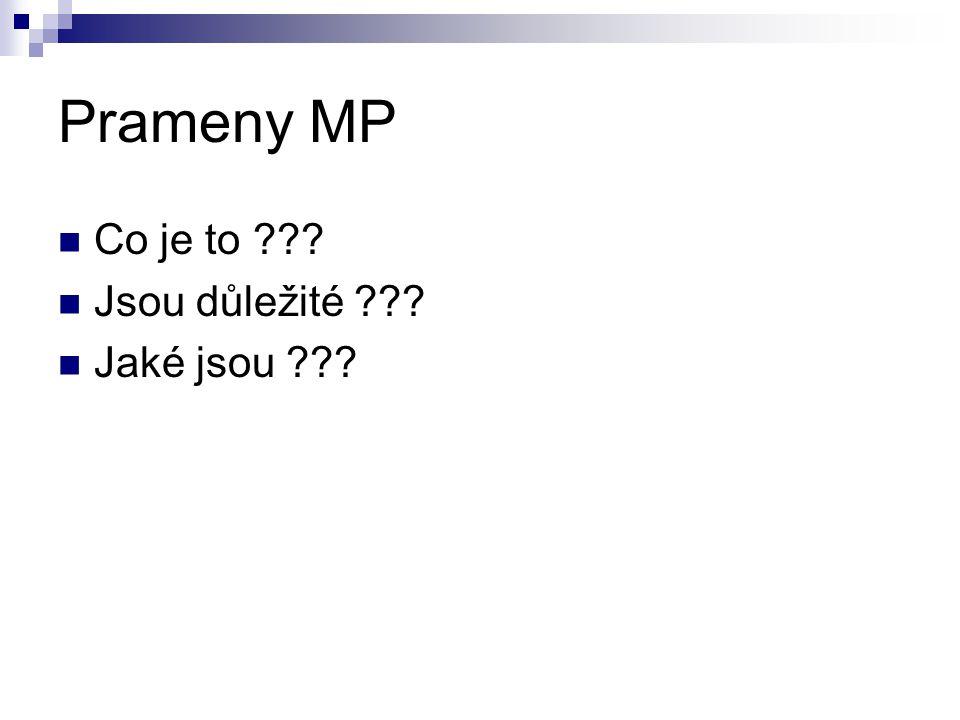 Prameny MP Co je to Jsou důležité Jaké jsou