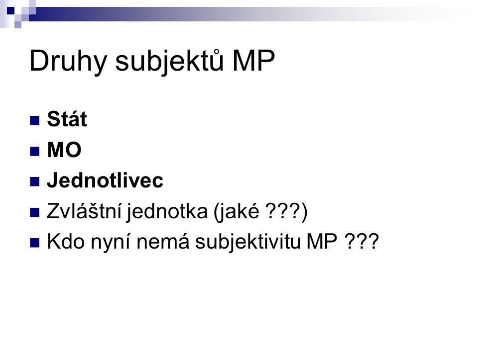 Druhy subjektů MP Stát MO Jednotlivec Zvláštní jednotka (jaké )
