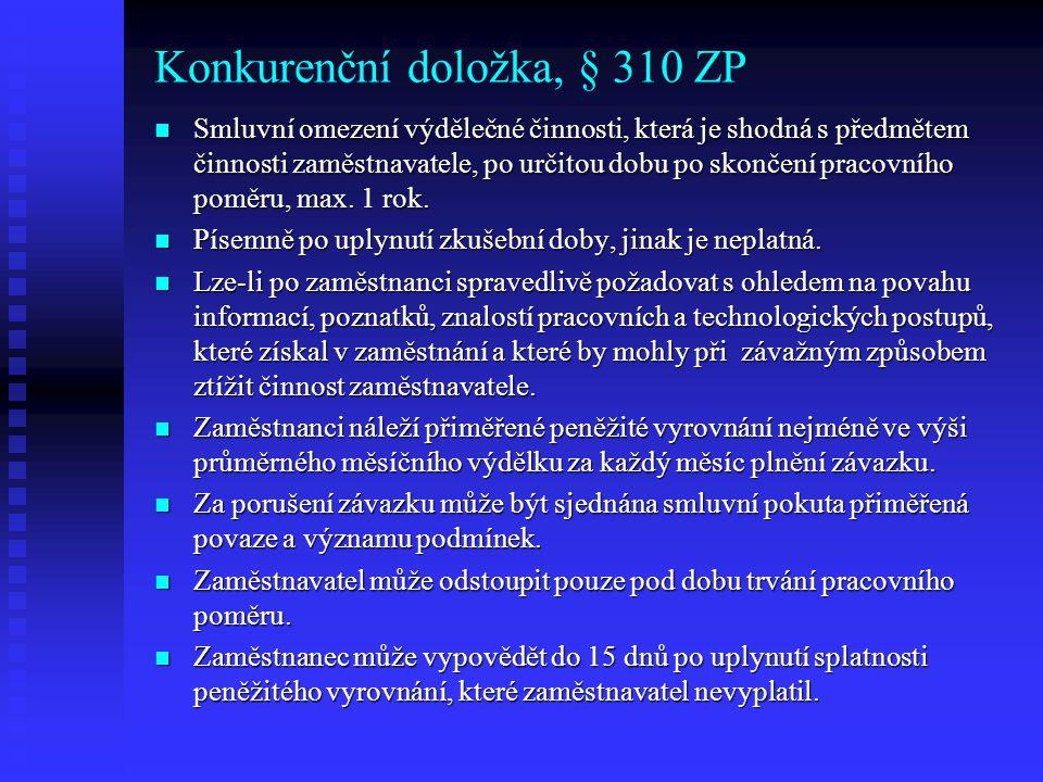 Konkurenční doložka, § 310 ZP