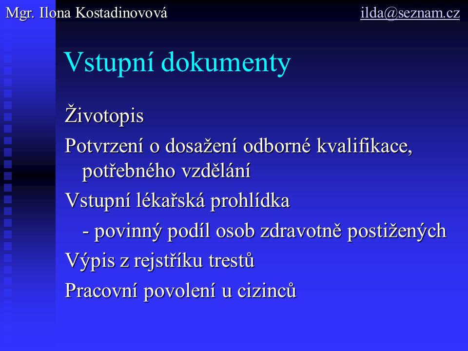 Vstupní dokumenty Životopis