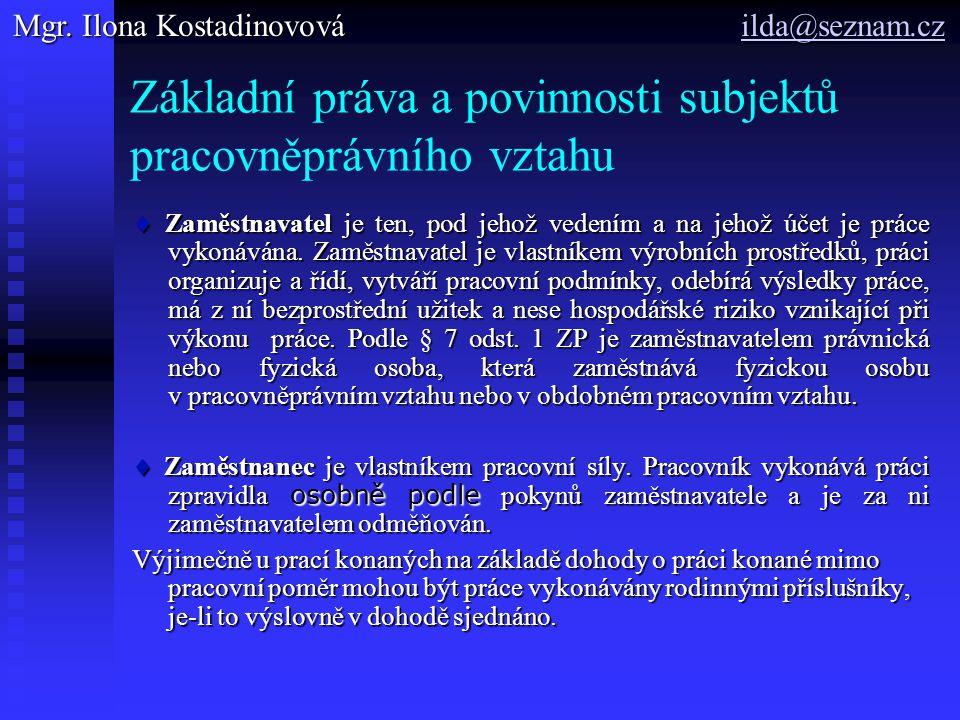 Základní práva a povinnosti subjektů pracovněprávního vztahu
