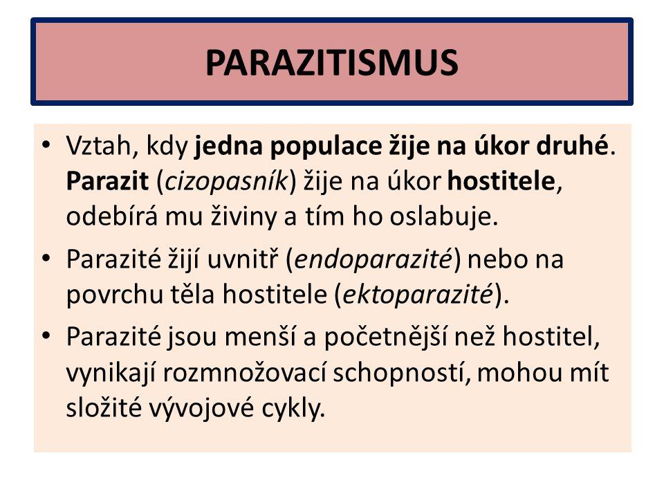 PARAZITISMUS Vztah, kdy jedna populace žije na úkor druhé. Parazit (cizopasník) žije na úkor hostitele, odebírá mu živiny a tím ho oslabuje.