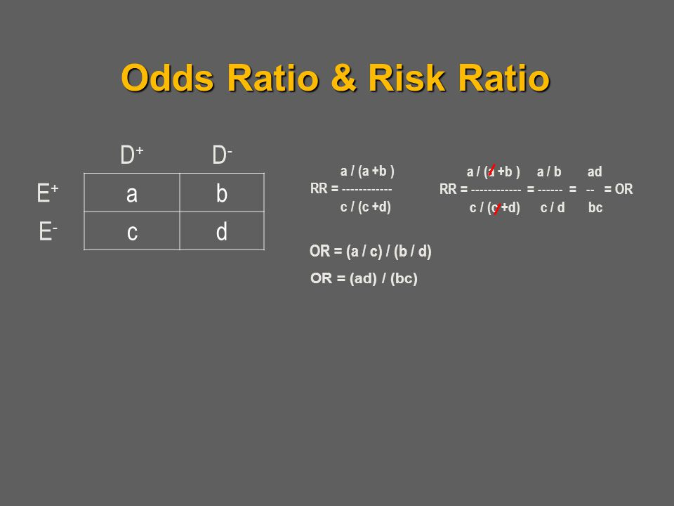 Odds Ratio & Risk Ratio D+ D- E+ a b E- c d OR = (a / c) / (b / d)