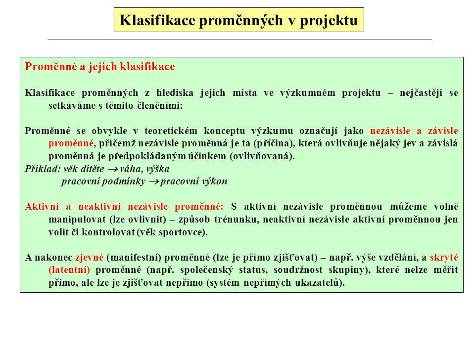 Klasifikace proměnných v projektu