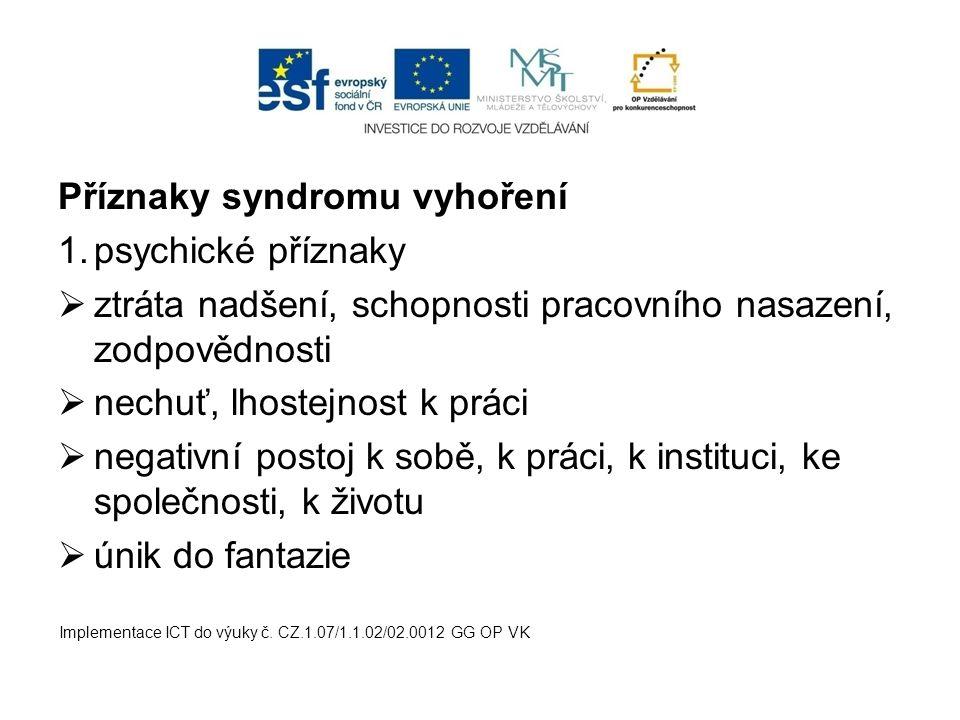 Příznaky syndromu vyhoření psychické příznaky