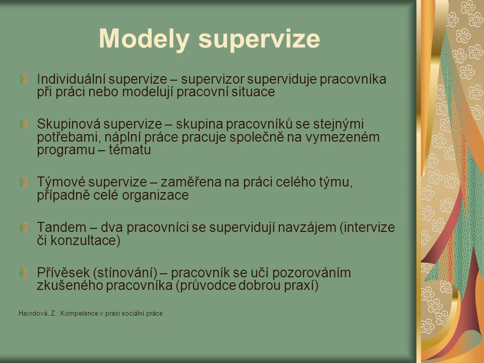 Modely supervize Individuální supervize – supervizor superviduje pracovníka při práci nebo modelují pracovní situace.