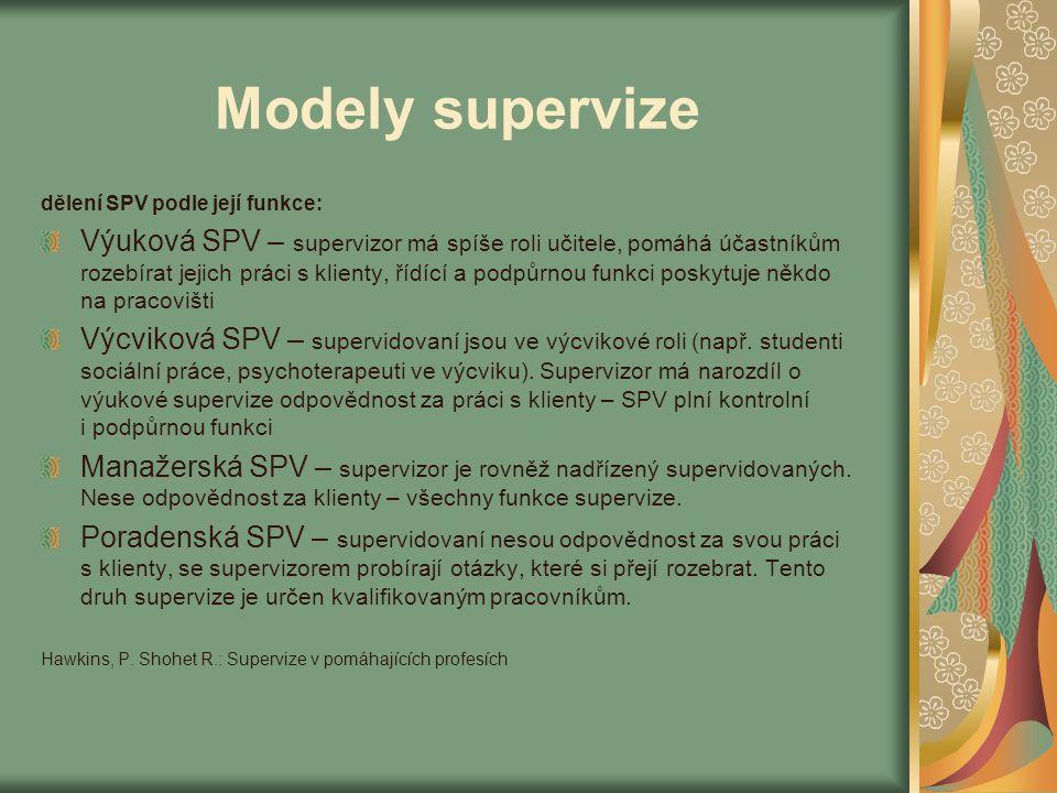 Modely supervize dělení SPV podle její funkce: