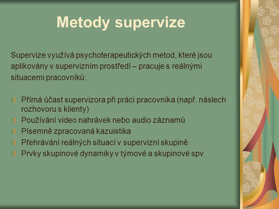Metody supervize Supervize využívá psychoterapeutických metod, které jsou. aplikovány v supervizním prostředí – pracuje s reálnými.