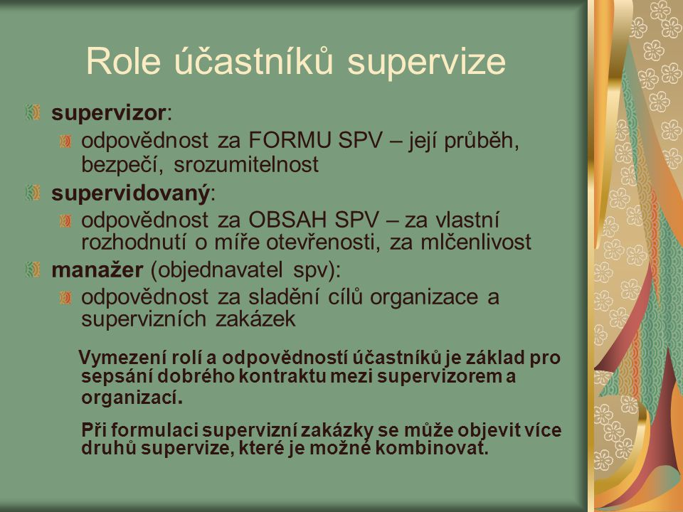 Role účastníků supervize