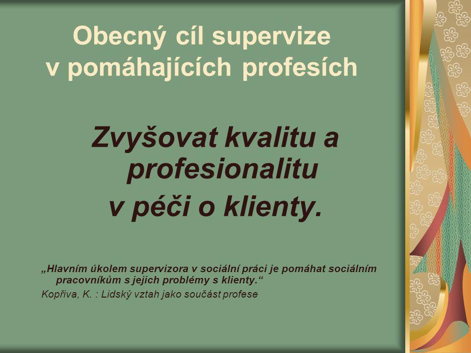 Obecný cíl supervize v pomáhajících profesích