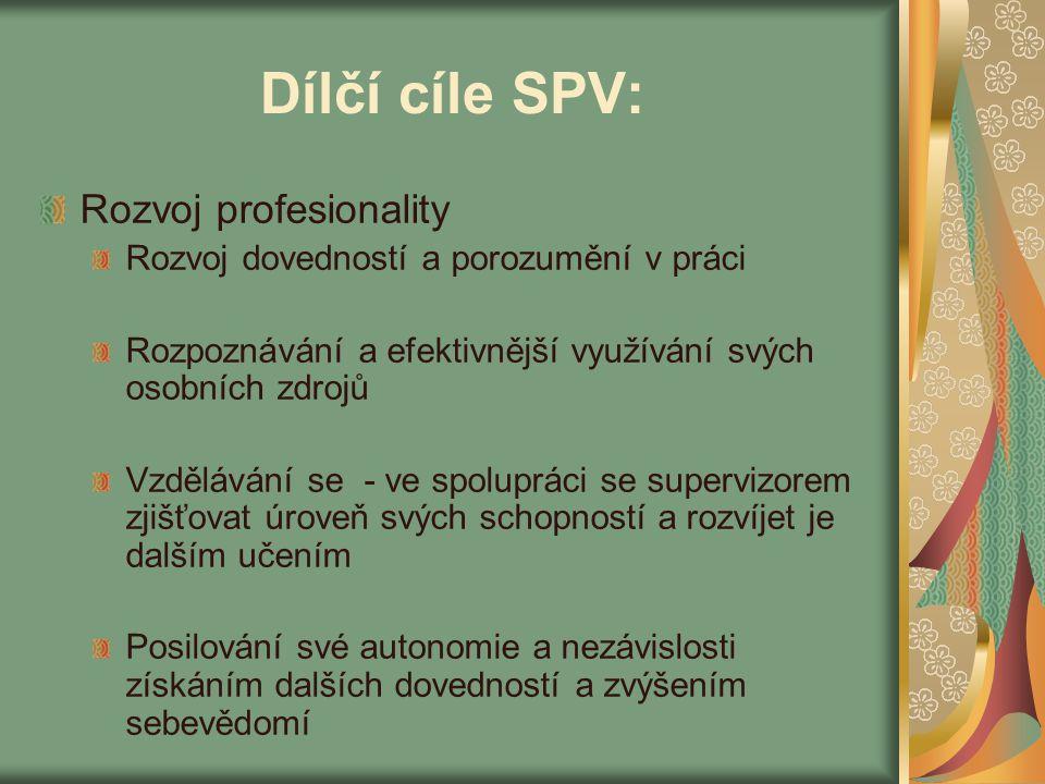 Dílčí cíle SPV: Rozvoj profesionality