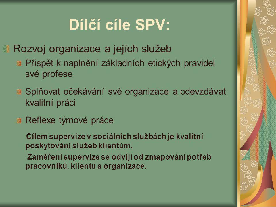 Dílčí cíle SPV: Rozvoj organizace a jejích služeb