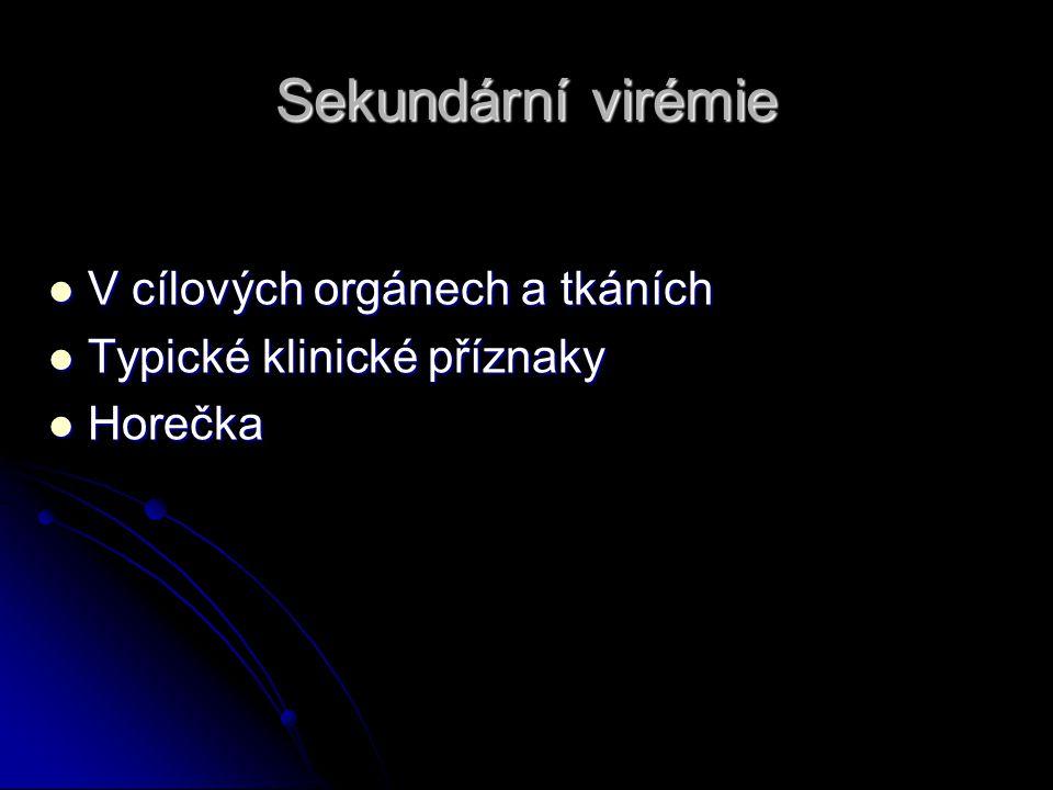 Sekundární virémie V cílových orgánech a tkáních