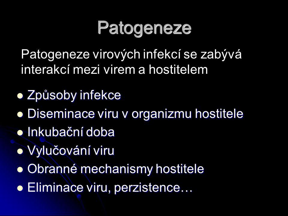 Patogeneze Patogeneze virových infekcí se zabývá interakcí mezi virem a hostitelem. Způsoby infekce.