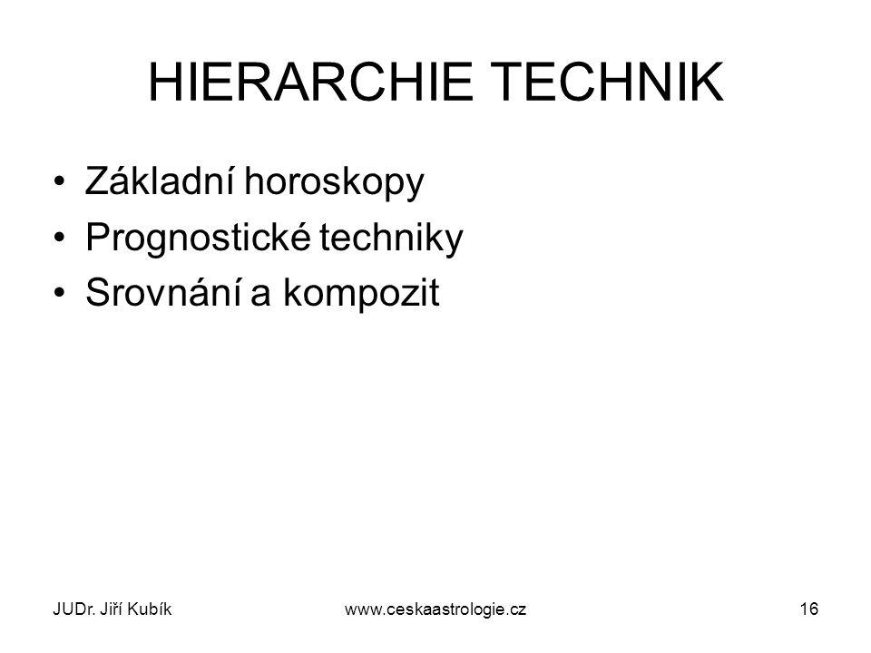 HIERARCHIE TECHNIK Základní horoskopy Prognostické techniky