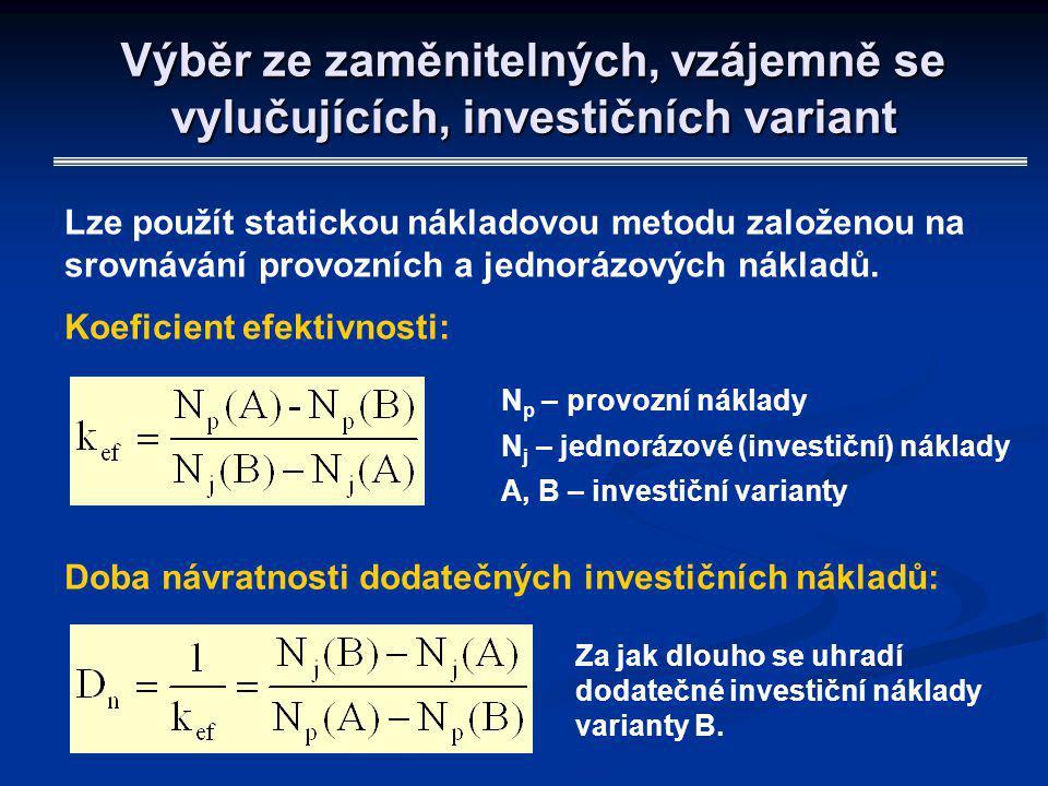 Výběr ze zaměnitelných, vzájemně se vylučujících, investičních variant